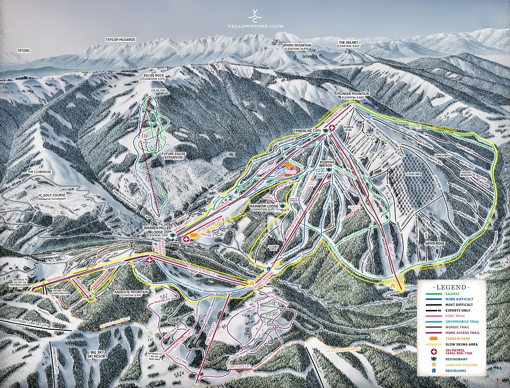 2016-2017 Yellowstone Club ski trail map.