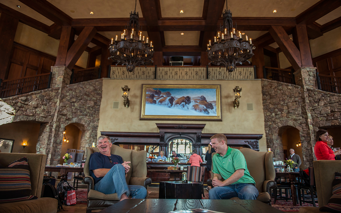 Lounging at the Warren Miller Lodge.