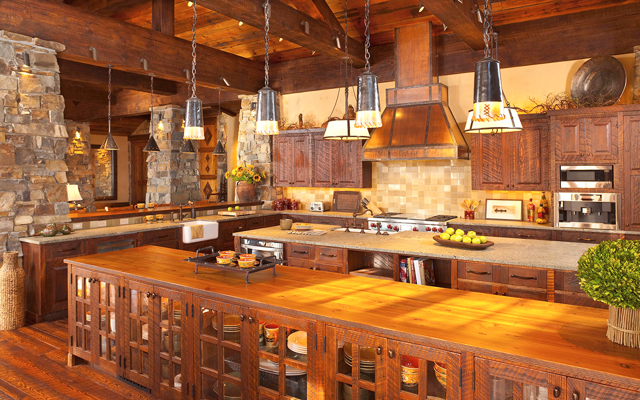 Kitchens feature state-of-the-art appliances and a rustic feel.