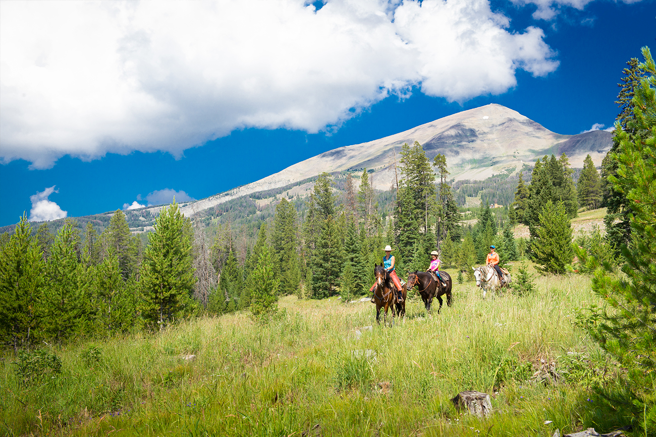 Horseback riding is a popular way to enjoy the beautiful scenery.