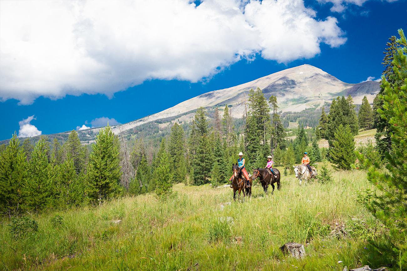 Horseback riding is a popular way to enjoy the beautiful scenery.