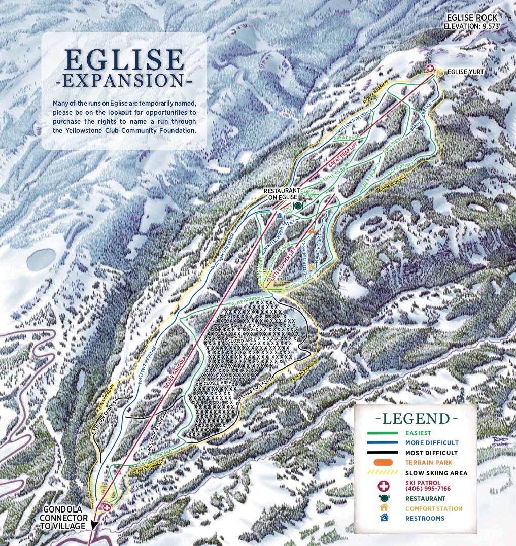 Ski – Yellowstone Club Discovery Ski Area Map on